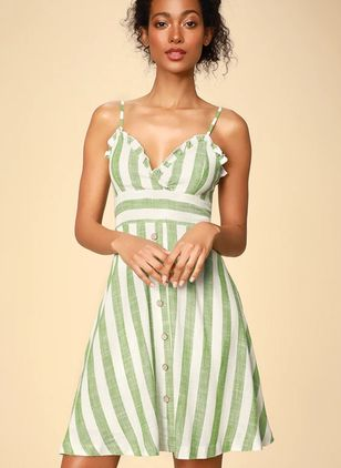 Stripe Buttons Slip Above Knee X-line Dress