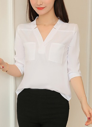 Solid Elegant Cotton V-Neckline 3/4 Sleeves Blouses