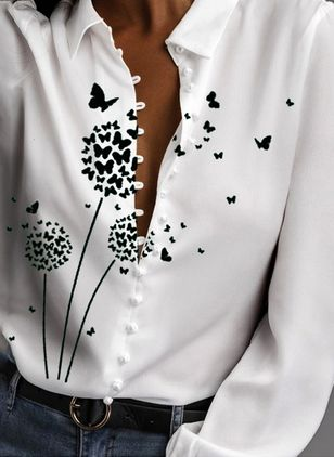 Floral Casual V-Neckline Long Sleeve Blouses (146914063)