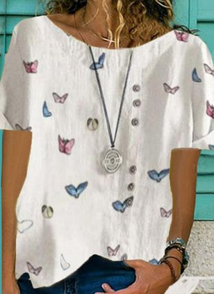 Animal Casual Round Neckline Short Sleeve Blouses (4369233)