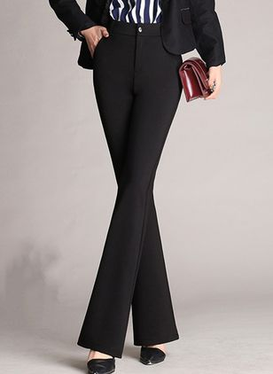 Elegant Straight Pockets High Waist Polyester Pants (146719265)