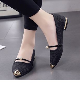 Pearl Sparkling Glitter Pointed Toe Low Heel Shoes