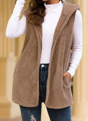 Sleeveless Hooded Pockets Sleeveless Coats (109973336)