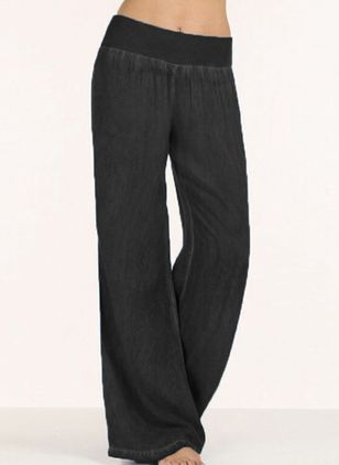 Casual Loose Mid Waist Cotton Blends Pants (131286786)