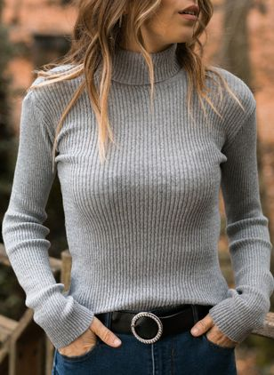 High Neckline Solid Elegant Tight Regular Sweaters (1382098)