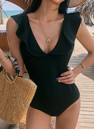 Polyester Solid One-piece Swimwear (4135360)