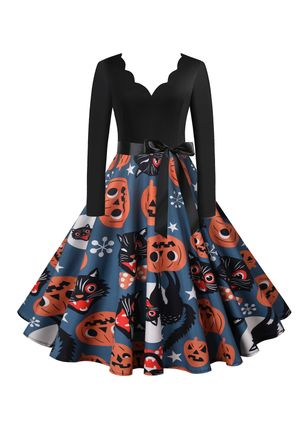 Halloween Color Block V-Neckline Midi X-line Dress (109973494)