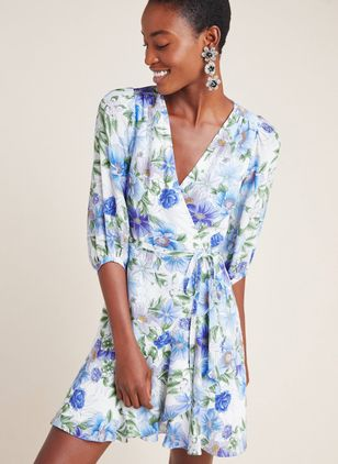 Floral Sashes Wrap V-Neckline X-line Dress
