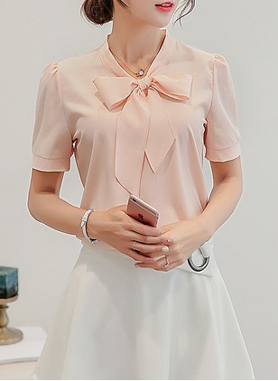 Solid Casual Polyester Short Sleeve Blouses