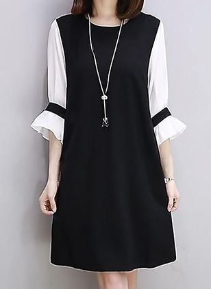 Cotton Color Block 3/4 Sleeves Knee-Length Dresses