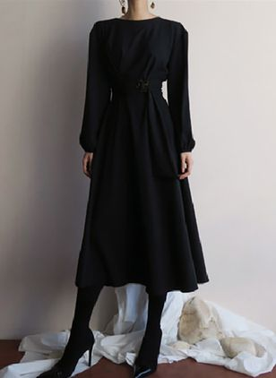 Solid Wrap Long Sleeve Midi A-line Dress
