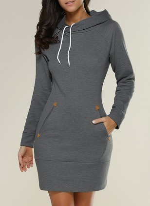 Solid Pockets Sweatershirt High Neckline Shift Dress