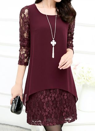 Solid Lace Long Sleeve Above Knee Shift Dress