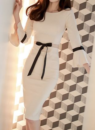 Solid Bow Pencil Knee-Length Bodycon Dress