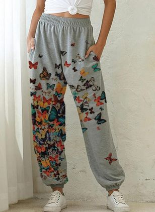 Casual Loose Pattern Pockets Mid Waist Polyester Pants (146966947)
