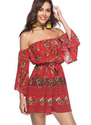Polyester Floral 3/4 Sleeves Jumpsuits & Rompers
