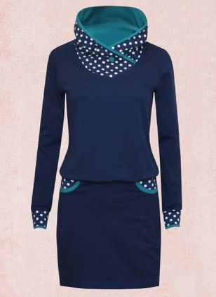 Casual Polka Dot Pencil V-Neckline Sheath Dress (116140378)