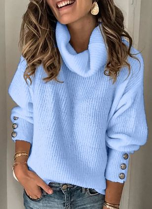 High Neckline Solid Casual Regular Shift Sweaters