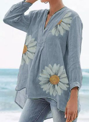 Floral Casual V-Neckline Long Sleeve Blouses (4458471)