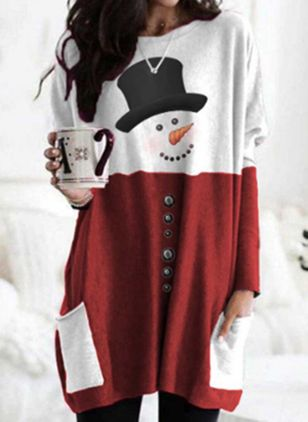 Color Block Christmas Round Neckline Long Sleeve Blouses (128228385)