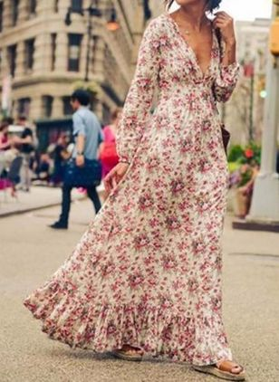 Floral V-Neckline Long Sleeve Maxi X-line Dress (4864791)