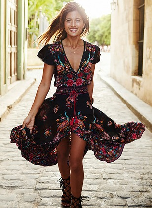Floral Wrap V-Neckline Maxi A-line Dress