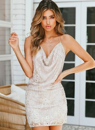 Solid Beading Slip Above Knee Bodycon Dress