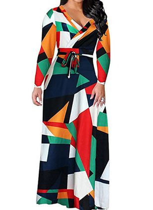 Geometric Wrap Long Sleeve Maxi Shift Dress