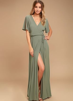 Solid Short Sleeve Maxi X-line Dress