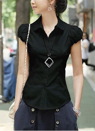 Solid Casual Cotton Polyester Collar Short Sleeve Blouses
