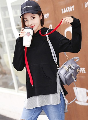 Color Block Casual Cotton Hooded Pockets Others Sweatshirts