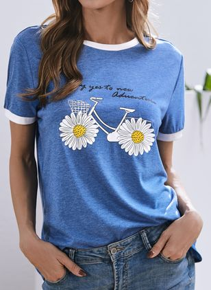 Round Neck Short Sleeve Casual T-shirts (146943419)