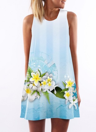 Floral Tank Camisole Neckline Mini A-line Dress