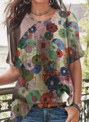 Floral Casual Round Neckline Short Sleeve Blouses (100668603)