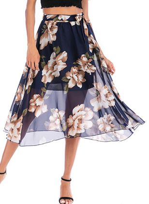 Floral Mid-Calf Casual Sashes Skirts (1506848)