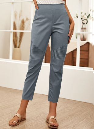 Casual Skinny High Waist Polyester Pants (146775414)