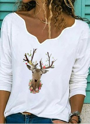 Animal Christmas V-Neckline Long Sleeve Blouses (128227687)