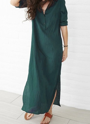 Solid Buttons Half Sleeve Maxi Shift Dress