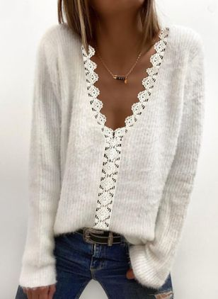 V-Neckline Solid Casual Regular Lace Sweaters (146859111)