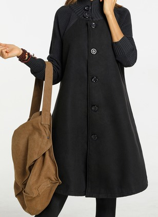 Cotton & Cotton Blend Long Sleeve Collar Buttons Coats