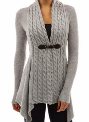 V-Neckline Solid Casual Tight Regular X-line Sweaters (106154111)