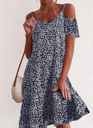 Elegant Floral Tunic Camisole Neckline Shift Dress (104534410)