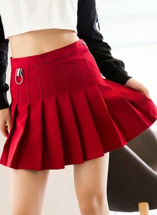 Color Block Above Knee Casual Buttons Zipper Skirts