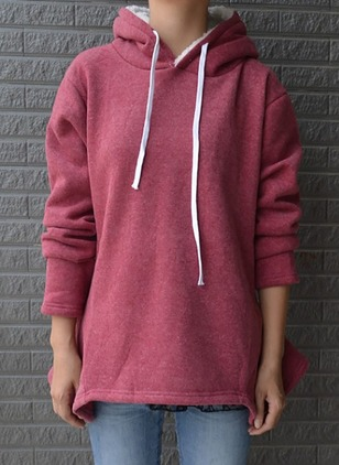 Solid Casual Cotton Hooded Blue Burgundy Sweatshirts