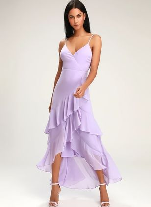 Solid Ruffles Slip High Low X-line Dress
