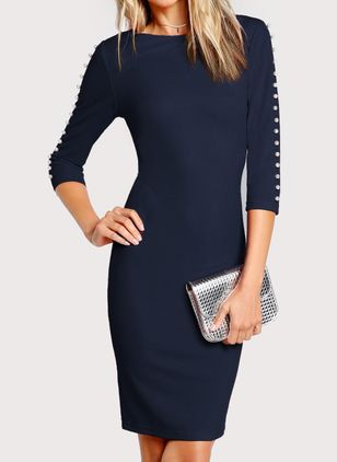 Casual Solid Buttons Pencil Sheath Dress