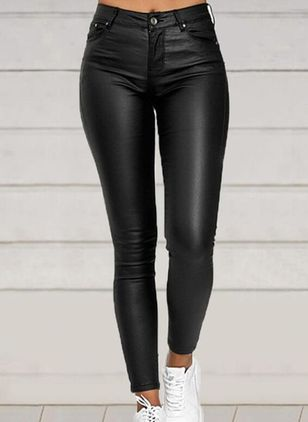 Casual Skinny Zipper High Waist Polyester Leggings (146885474)
