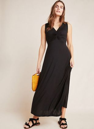 Solid Sleeveless Midi X-line Dress