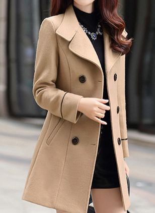 Long Sleeve Collar Buttons Trench Coats (108088889)