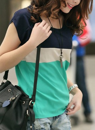 Color Block Casual Round Neckline Cap Sleeve Blouses